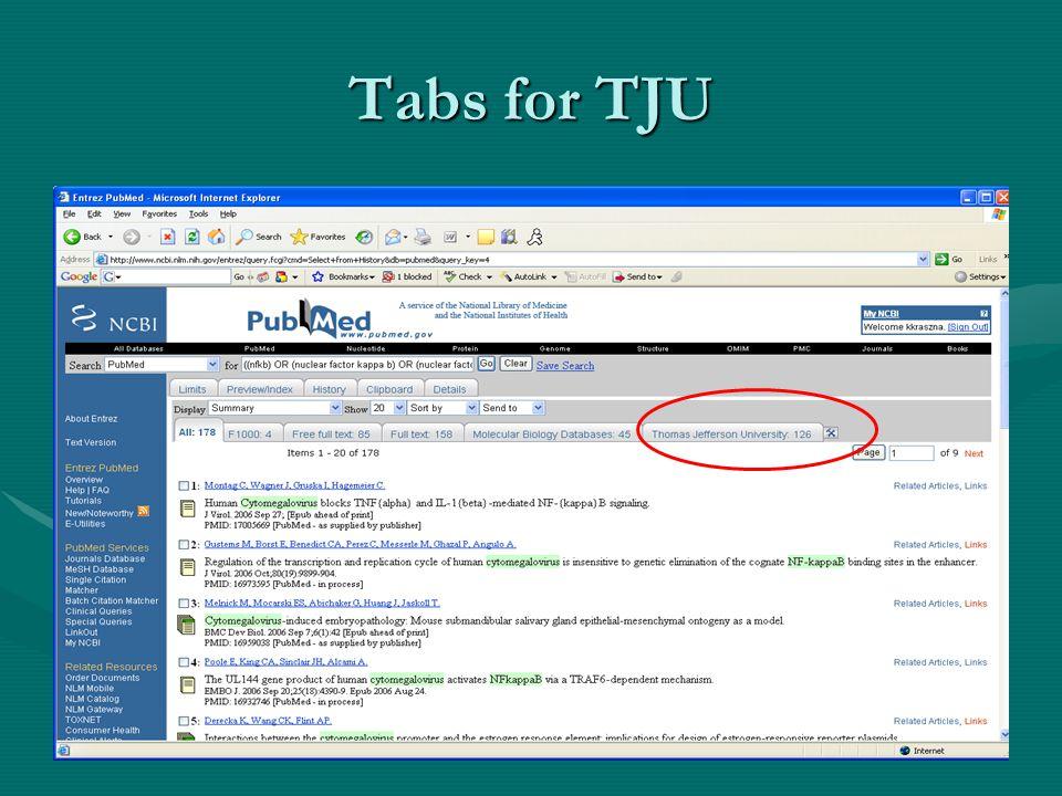 Tabs for TJU