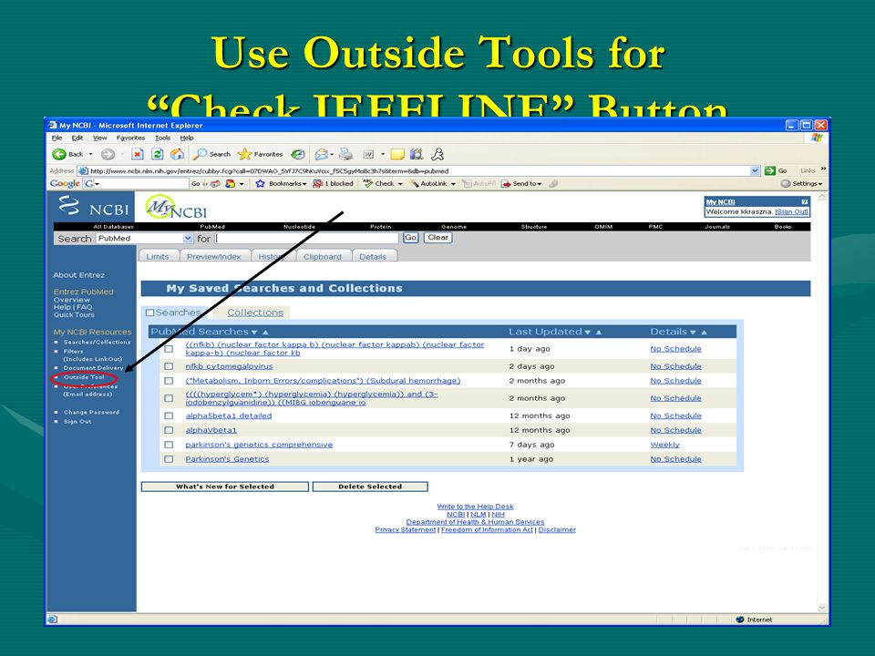 Use Outside Tools for Check JEFFLINE Button