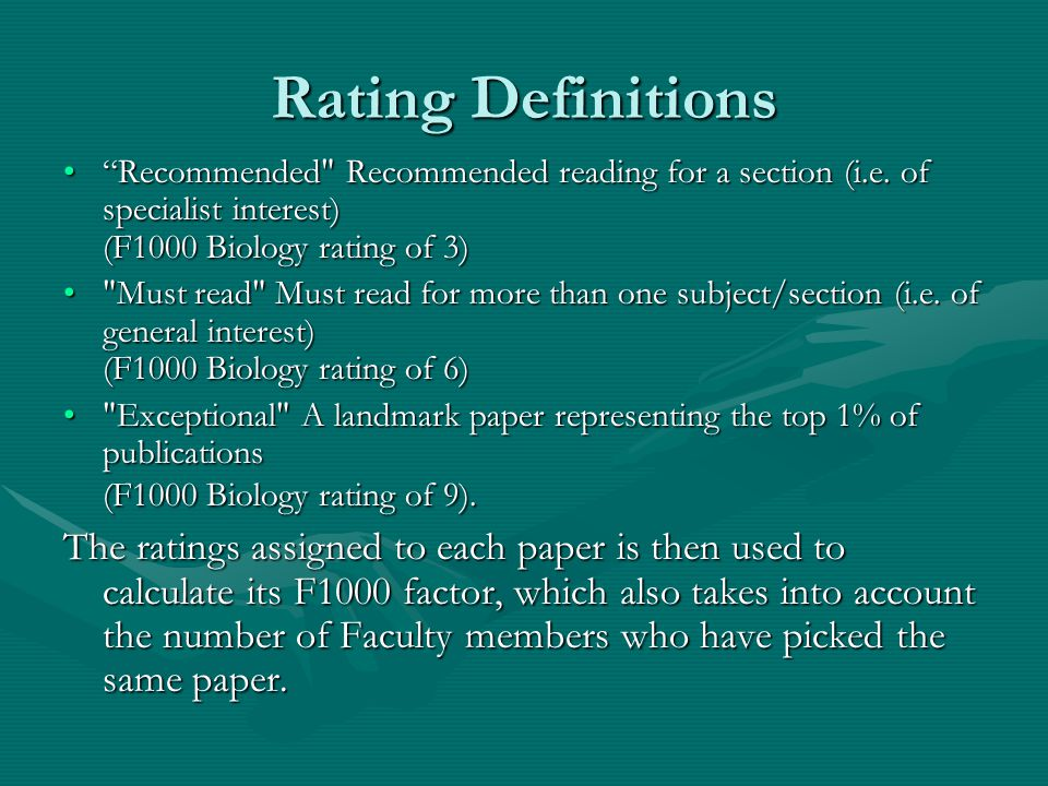 Rating Definitions Recommended Recommended reading for a section (i.e.