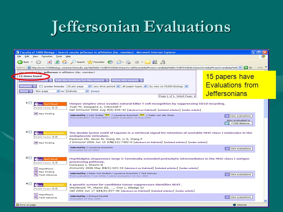 Jeffersonian Evaluations 15 papers have Evaluations from Jeffersonians