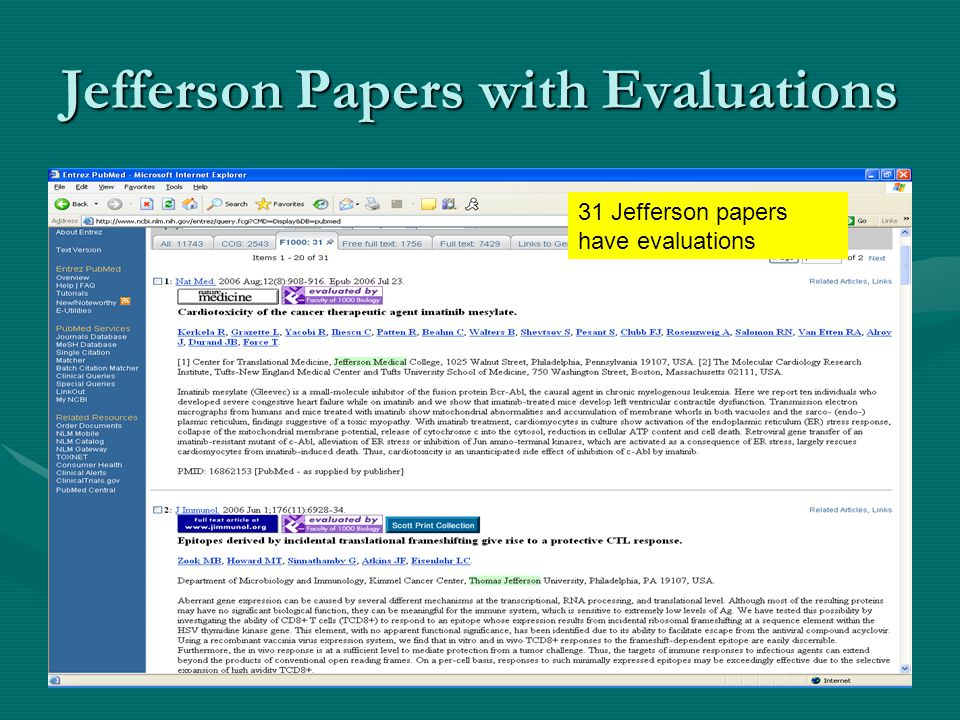 Jefferson Papers with Evaluations 31 Jefferson papers have evaluations