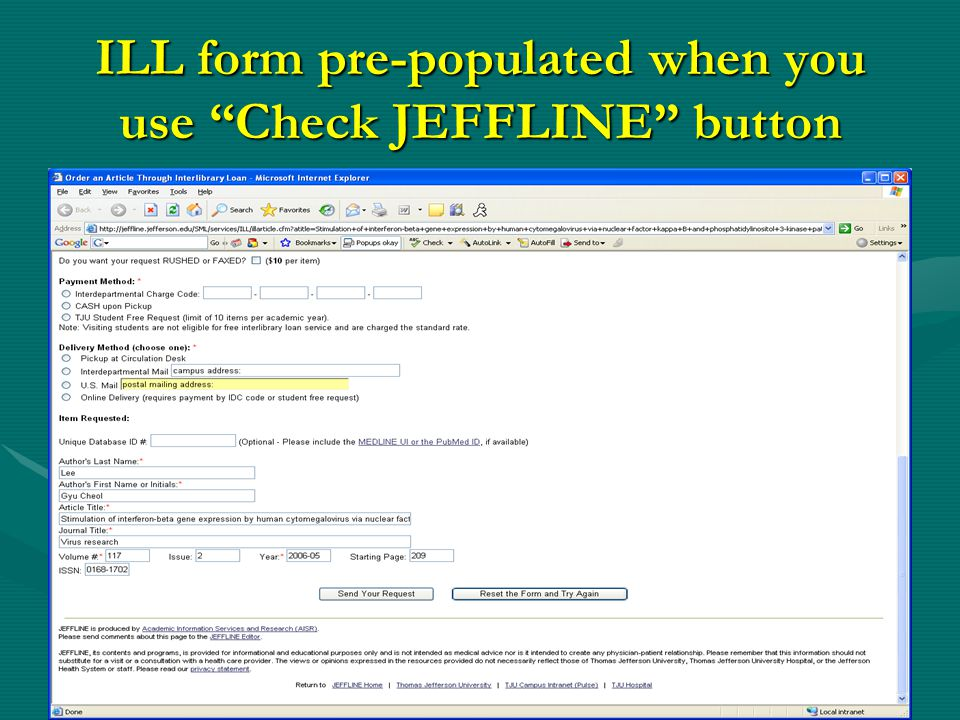 ILL form pre-populated when you use Check JEFFLINE button