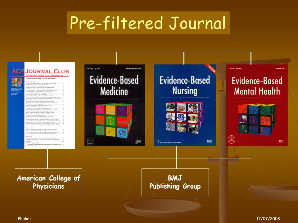 American College of Physicians BMJ Publishing Group Pre-filtered Journal Phuket17/07/2008