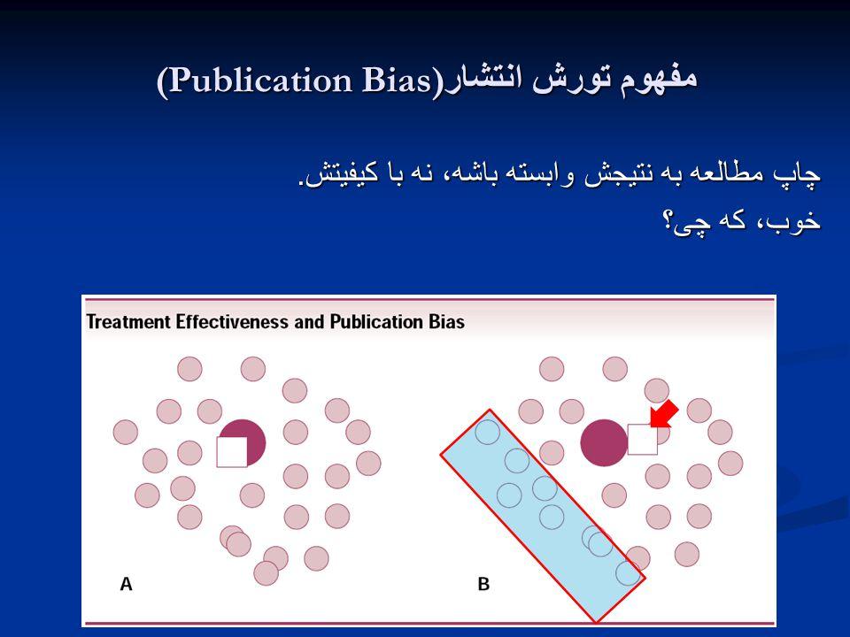 مفهوم تورش انتشار (Publication Bias) چاپ مطالعه به نتیجش وابسته باشه، نه با کیفیتش. خوب، که چی؟