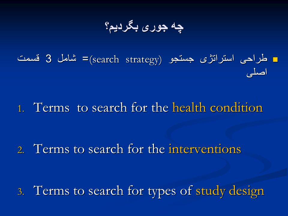چه جوری بگردیم؟ طراحی استراتژی جستجو (search strategy)= شامل 3 قسمت اصلی طراحی استراتژی جستجو (search strategy)= شامل 3 قسمت اصلی 1.