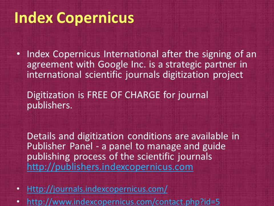 Index Copernicus Index Copernicus International after the signing of an agreement with Google Inc.