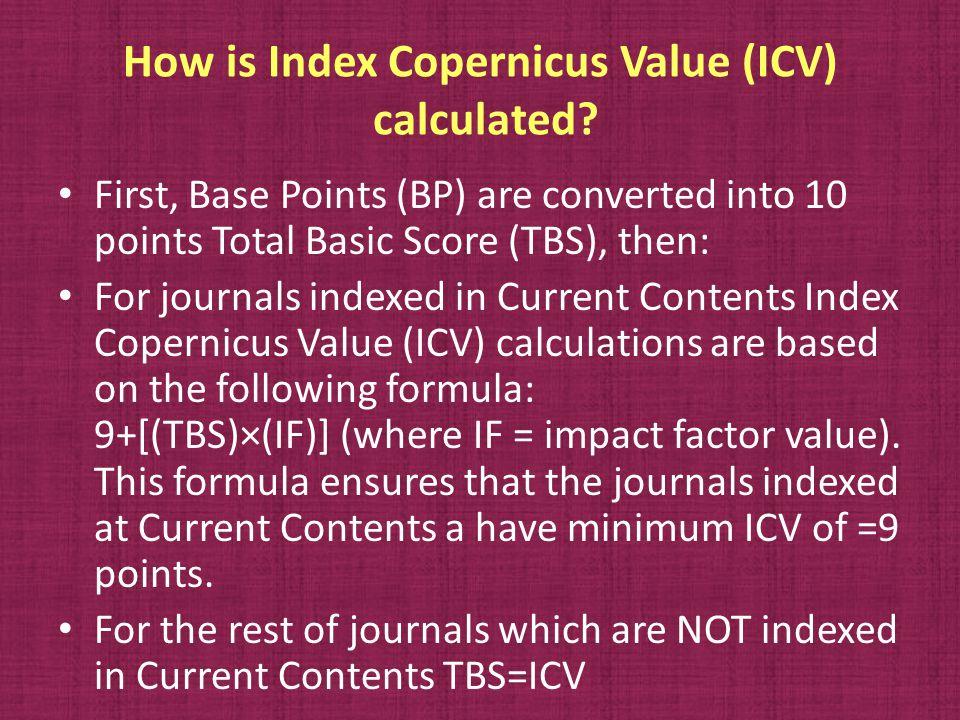 How is Index Copernicus Value (ICV) calculated.