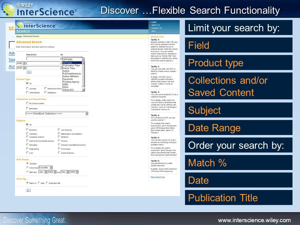 www.interscience.wiley.com Discover …Flexible Search Functionality Limit your search by: Field Product type Collections and/or Saved Content Subject D