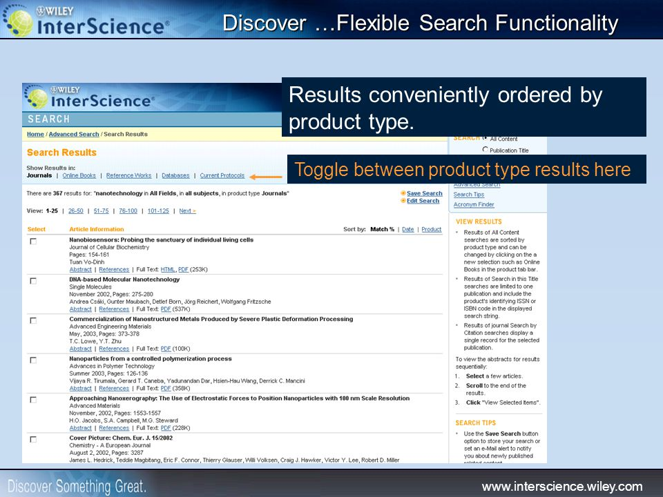 www.interscience.wiley.com Results conveniently ordered by product type.