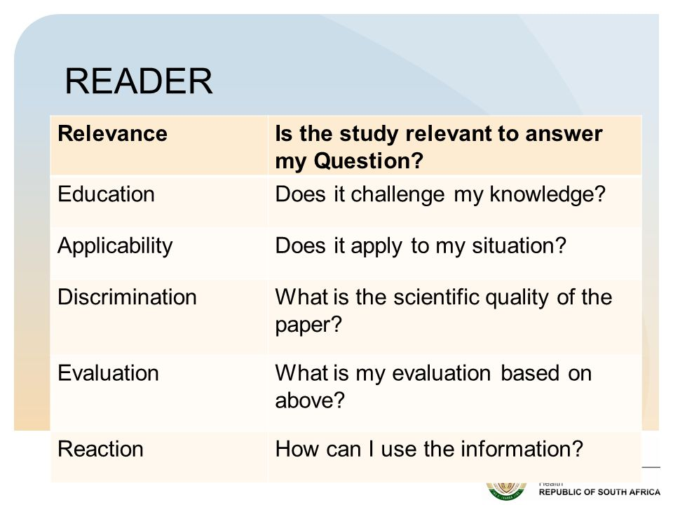 READER RelevanceIs the study relevant to answer my Question.