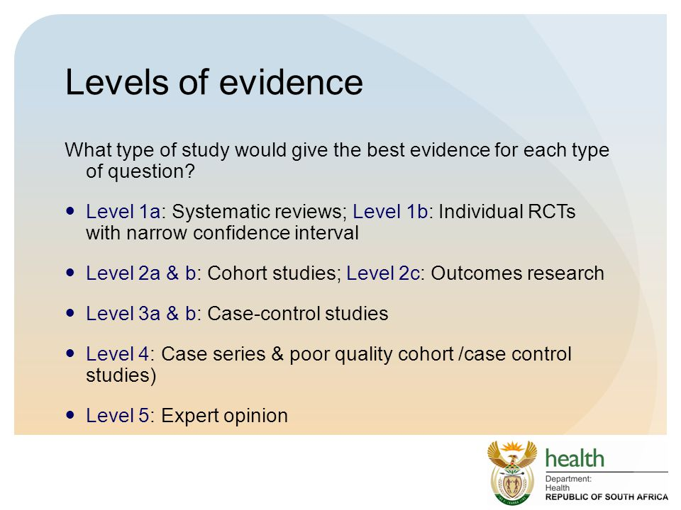 Levels of evidence What type of study would give the best evidence for each type of question.