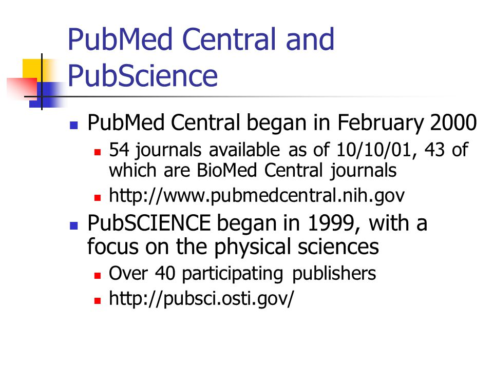 PLoS: Impact Few publishers have agreed to put their journals on PubMed Central for free, BUT: Science now offers free access to research articles one year out Royal Society of Chemistry has free access two years out Highwire Press has ~ 325,000 free articles NASA Astrophysics Data System has over 300,000 free articles PLoS will launch their own publishing effort: page charges @ $300/article