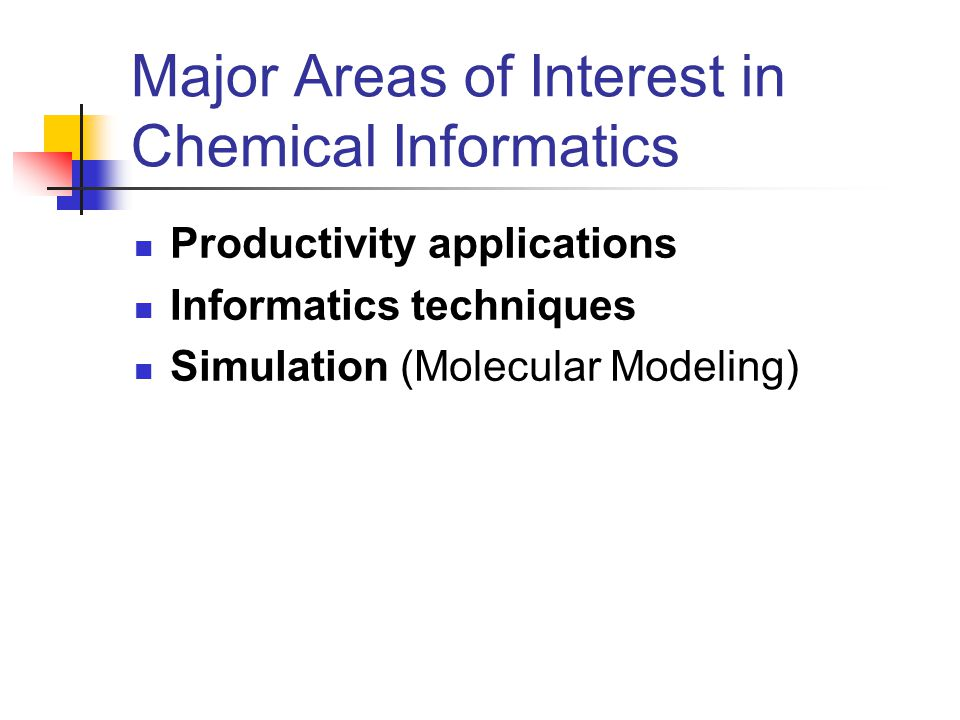 Chemical Informatics Chemical informatics provides the tools to acquire, organize, and evaluate data, yielding new insights for further chemical research.