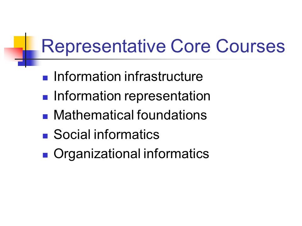 School of Informatics BS Degree: 122 hours Informatics core courses: 30 hours Other informatics courses: 9 hours Some may be from a department/school outside the School of Informatics Cognate area courses: 15-18 hours