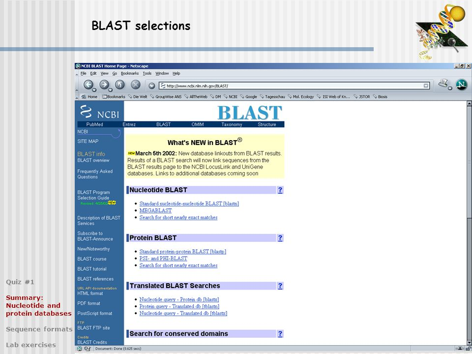 BLAST selections Quiz #1 Summary: Nucleotide and protein databases Sequence formats Lab exercises