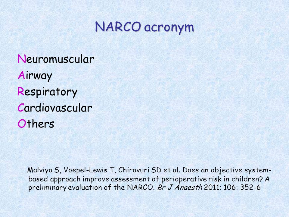 NARCO acronym Neuromuscular Airway Respiratory Cardiovascular Others Malviya S, Voepel-Lewis T, Chiravuri SD et al.