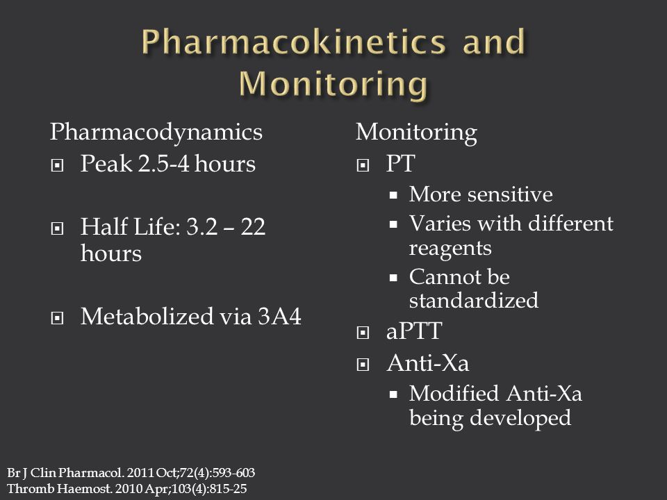Pharmacodynamics  Peak 2.5-4 hours  Half Life: 3.2 – 22 hours  Metabolized via 3A4 Monitoring  PT  More sensitive  Varies with different reagents  Cannot be standardized  aPTT  Anti-Xa  Modified Anti-Xa being developed Br J Clin Pharmacol.