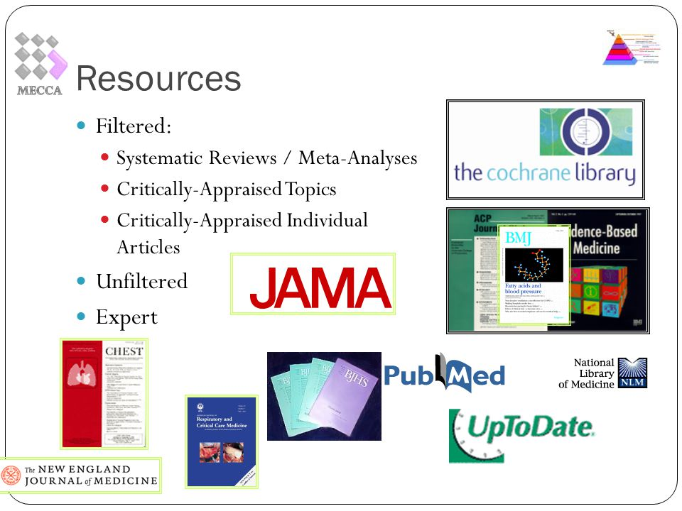 Resources Filtered: Systematic Reviews / Meta-Analyses Critically-Appraised Topics Critically-Appraised Individual Articles Unfiltered Expert