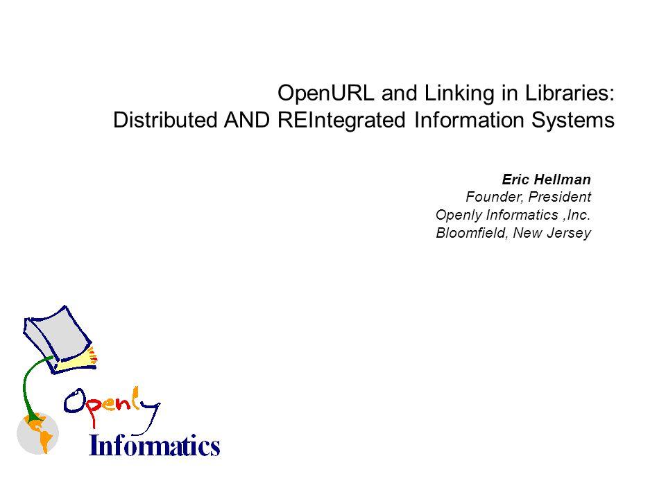 Eric Hellman Founder, President Openly Informatics,Inc.