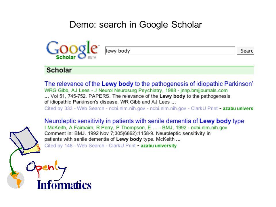 Demo: search in Google Scholar