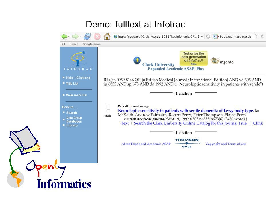 Demo: fulltext at Infotrac