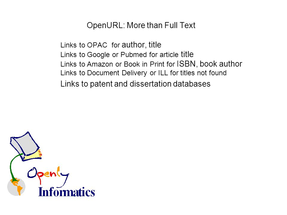 OpenURL: More than Full Text Links to OPAC for author, title Links to Google or Pubmed for article title Links to Amazon or Book in Print for ISBN, bo