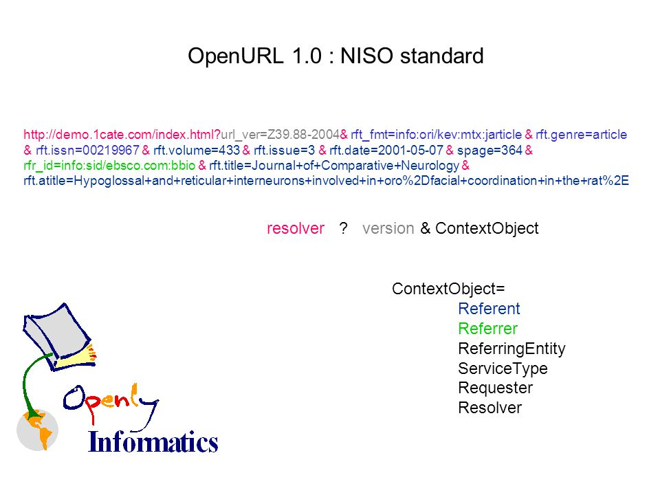 OpenURL 1.0 : NISO standard http://demo.1cate.com/index.html url_ver=Z39.88-2004& rft_fmt=info:ori/kev:mtx:jarticle & rft.genre=article & rft.issn=00219967 & rft.volume=433 & rft.issue=3 & rft.date=2001-05-07 & spage=364 & rfr_id=info:sid/ebsco.com:bbio & rft.title=Journal+of+Comparative+Neurology & rft.atitle=Hypoglossal+and+reticular+interneurons+involved+in+oro%2Dfacial+coordination+in+the+rat%2E resolver .