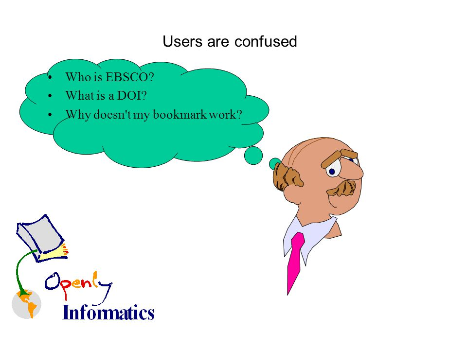 Users are confused Who is EBSCO What is a DOI Why doesn t my bookmark work