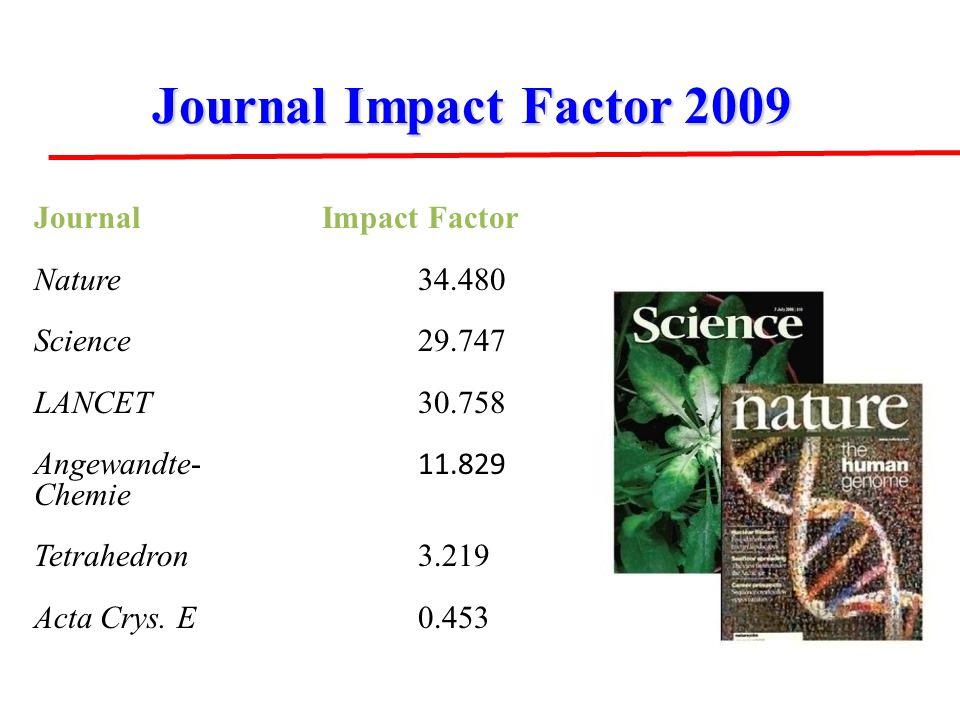 JournalImpact Factor 2009 Journal Impact Factor 2009 JournalImpact Factor Nature34.480 Science 29.747 LANCET 30.758 Angewandte- 11.829 Chemie Tetrahedron 3.219 Acta Crys.