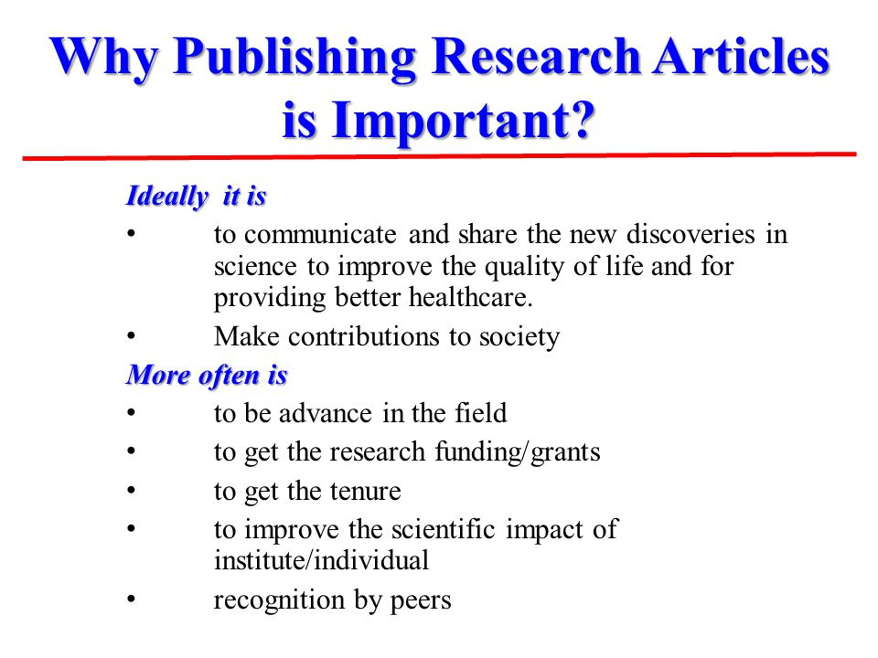 Why Publishing Research Articles is Important.