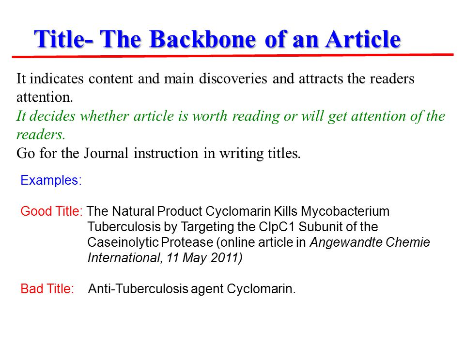 Title- The Backbone of an Article Examples: Good Title: The Natural Product Cyclomarin Kills Mycobacterium Tuberculosis by Targeting the ClpC1 Subunit of the Caseinolytic Protease (online article in Angewandte Chemie International, 11 May 2011) Bad Title: Anti-Tuberculosis agent Cyclomarin.