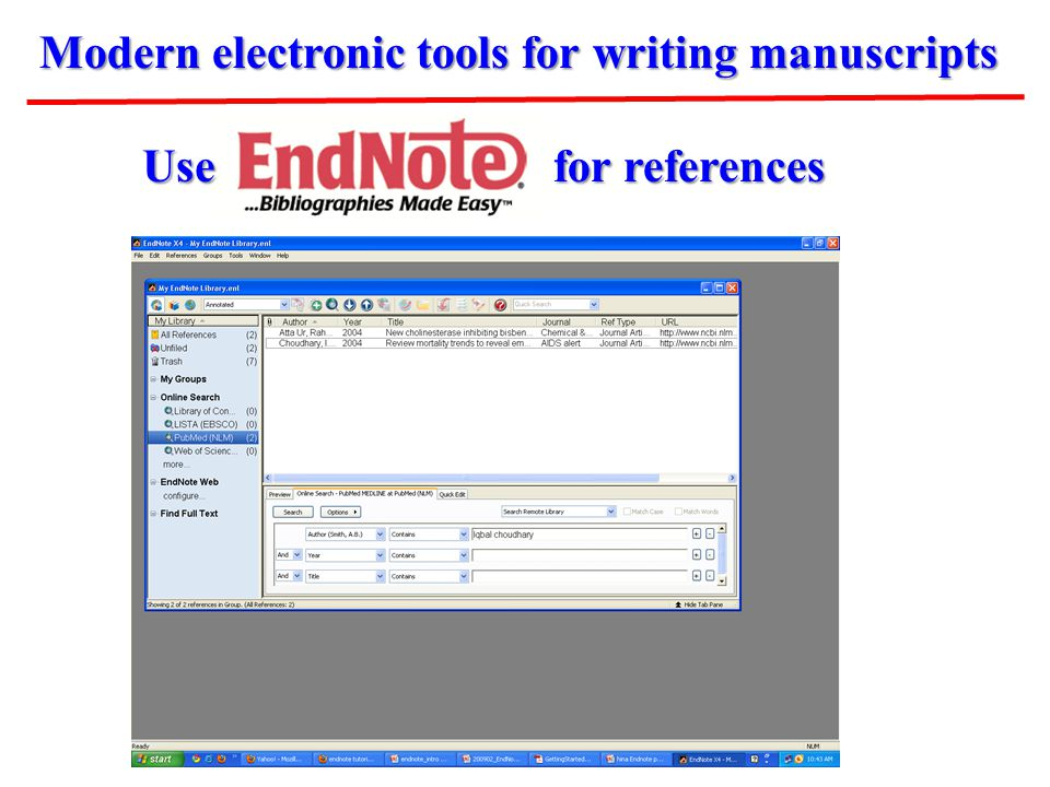 Modern electronic tools for writing manuscripts Use for references