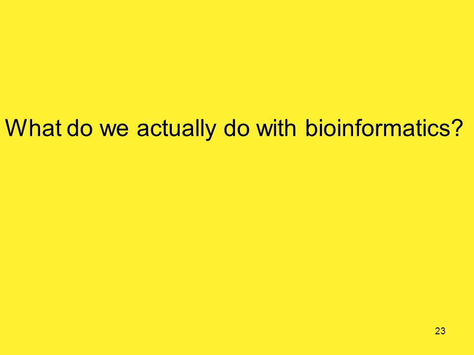 What do we actually do with bioinformatics 23