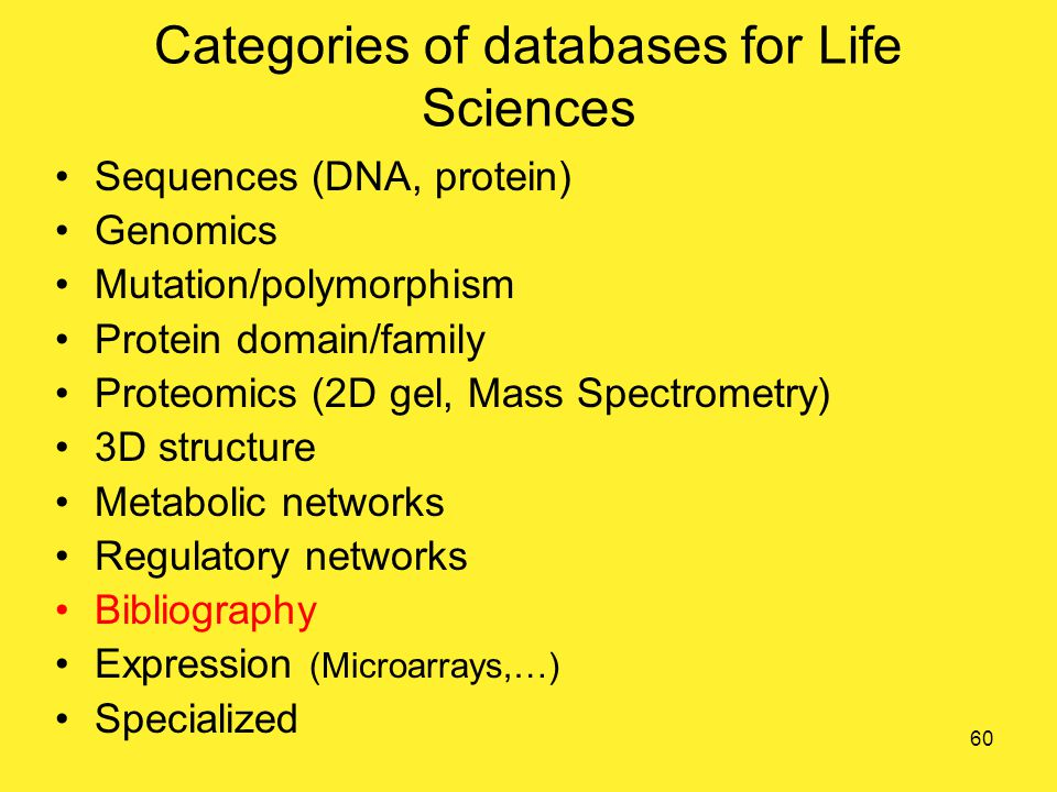 Categories of databases for Life Sciences Sequences (DNA, protein) Genomics Mutation/polymorphism Protein domain/family Proteomics (2D gel, Mass Spectrometry) 3D structure Metabolic networks Regulatory networks Bibliography Expression (Microarrays,…) Specialized 60