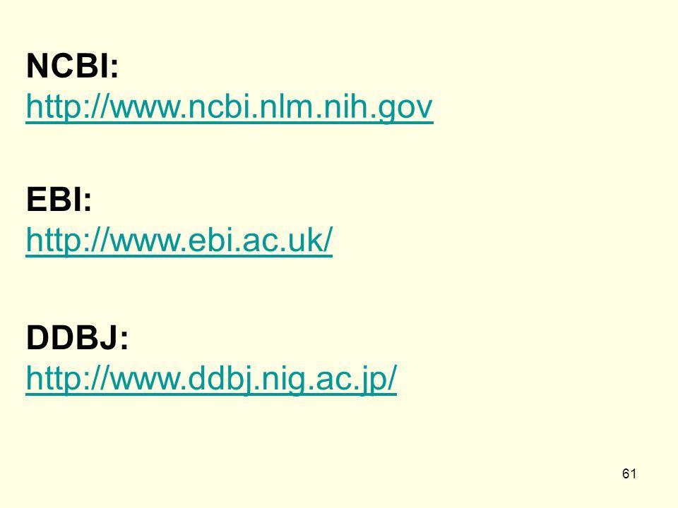 61 NCBI: http://www.ncbi.nlm.nih.gov http://www.ncbi.nlm.nih.gov EBI: http://www.ebi.ac.uk/ http://www.ebi.ac.uk/ DDBJ: http://www.ddbj.nig.ac.jp/ http://www.ddbj.nig.ac.jp/