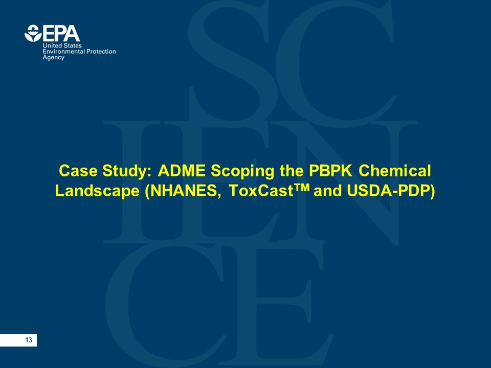 13 Case Study: ADME Scoping the PBPK Chemical Landscape (NHANES, ToxCast TM and USDA-PDP)