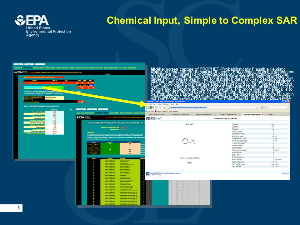 8 Chemical Input, Simple to Complex SAR Upper: screen capture of main input screen.