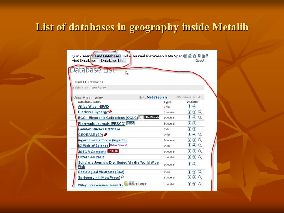 List of databases in geography inside Metalib
