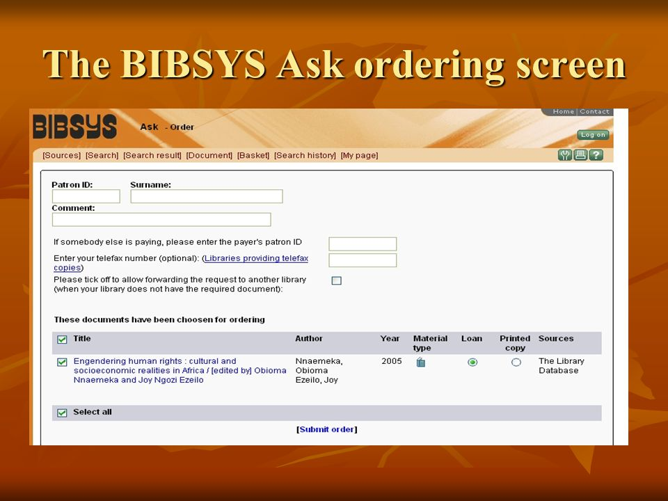The BIBSYS order screen.The whole reference being pasted into BIBSYS after having pressed the BIBSYS X button.