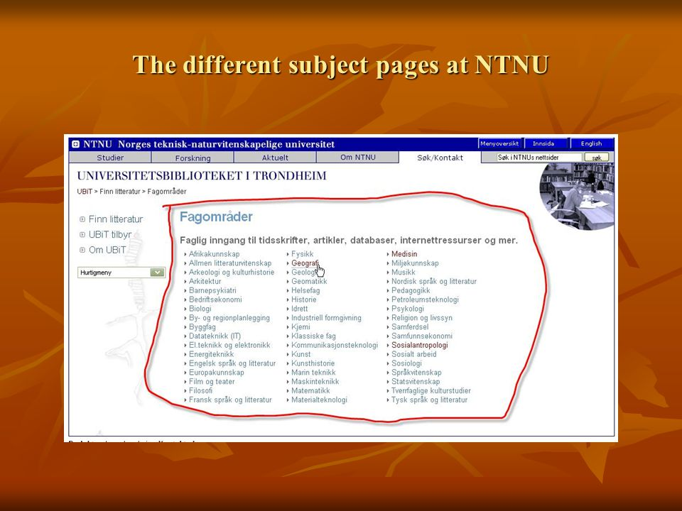 The different subject pages at NTNU