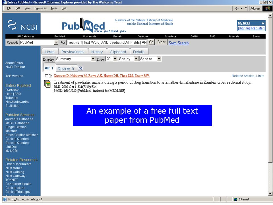 An example of a free full text paper from PubMed