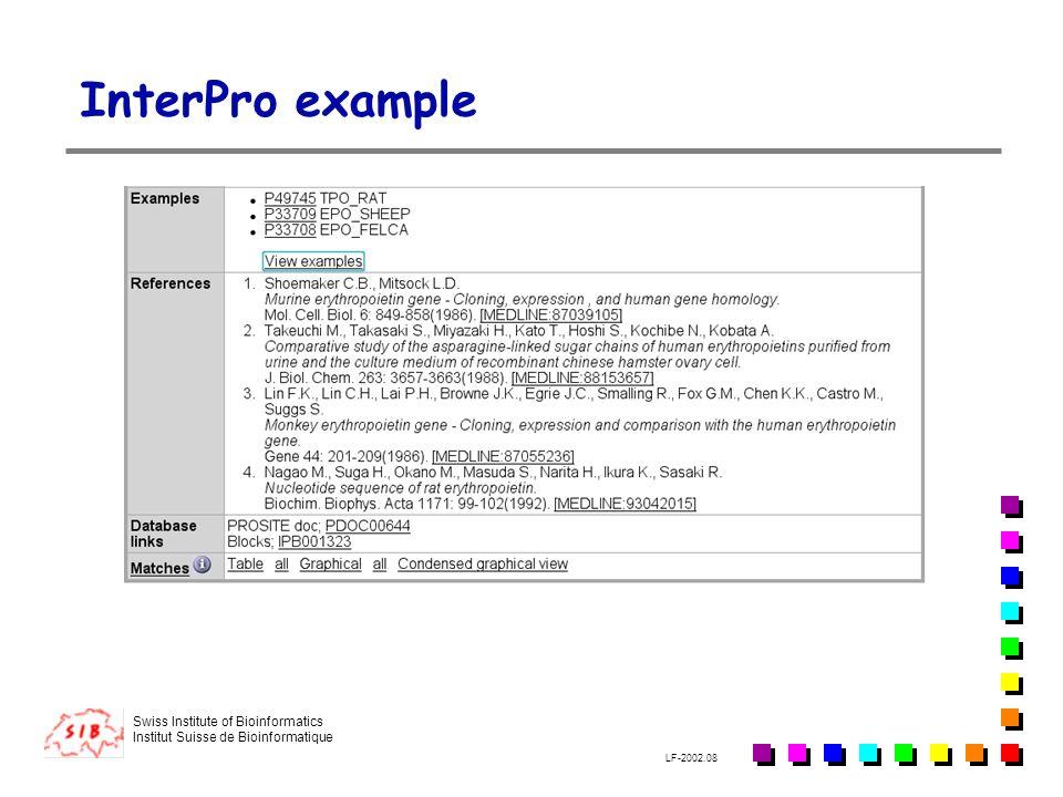 Swiss Institute of Bioinformatics Institut Suisse de Bioinformatique LF-2002.08 InterPro example