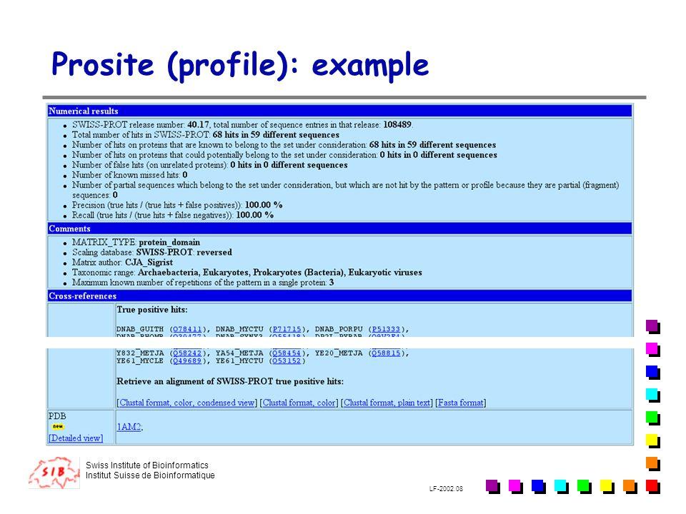 Swiss Institute of Bioinformatics Institut Suisse de Bioinformatique LF-2002.08 Prosite (profile): example
