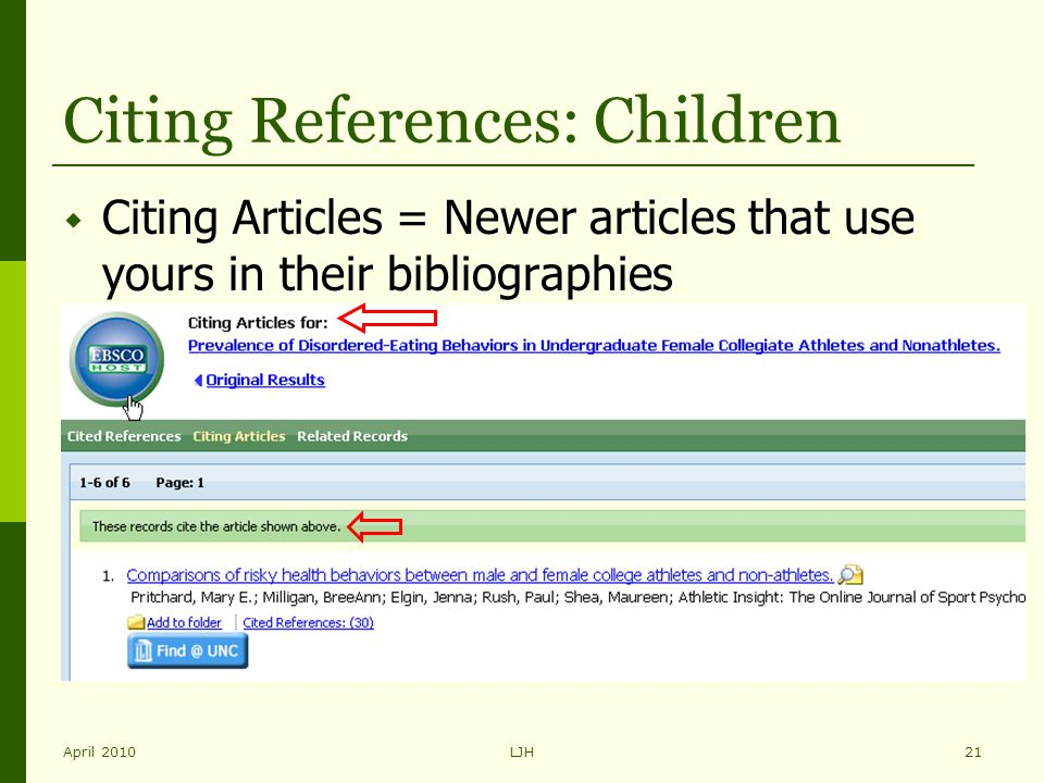 April 2010LJH21 Citing References: Children  Citing Articles = Newer articles that use yours in their bibliographies