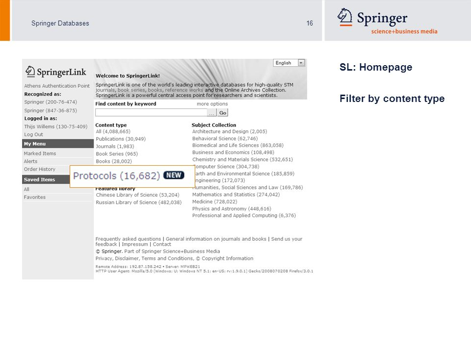 Springer Databases16 SL: Homepage Filter by content type
