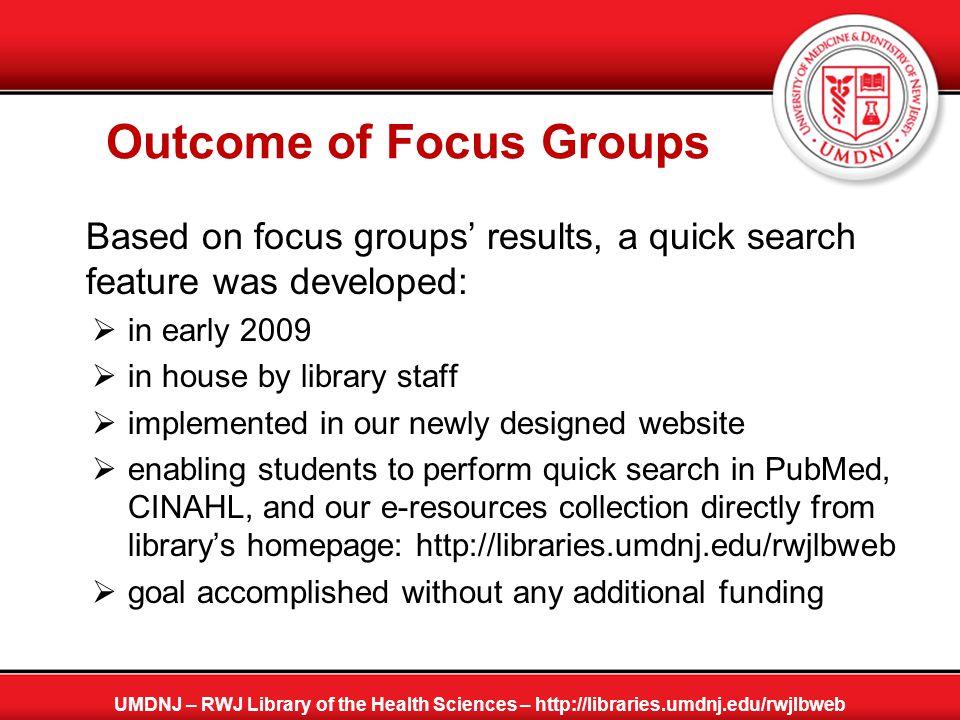 Members of the RWJ Library's Website Development Team  Fengzhi Fan: Systems Librarian, UMDNJ - Robert Wood Johnson Library of the Health Sciences, 1 RWJ Place, PO Box 19, New Brunswick, NJ 08903, fanfe@umdnj.edu, 732-235-7605.