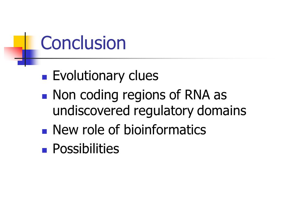 Conclusion Evolutionary clues Non coding regions of RNA as undiscovered regulatory domains New role of bioinformatics Possibilities