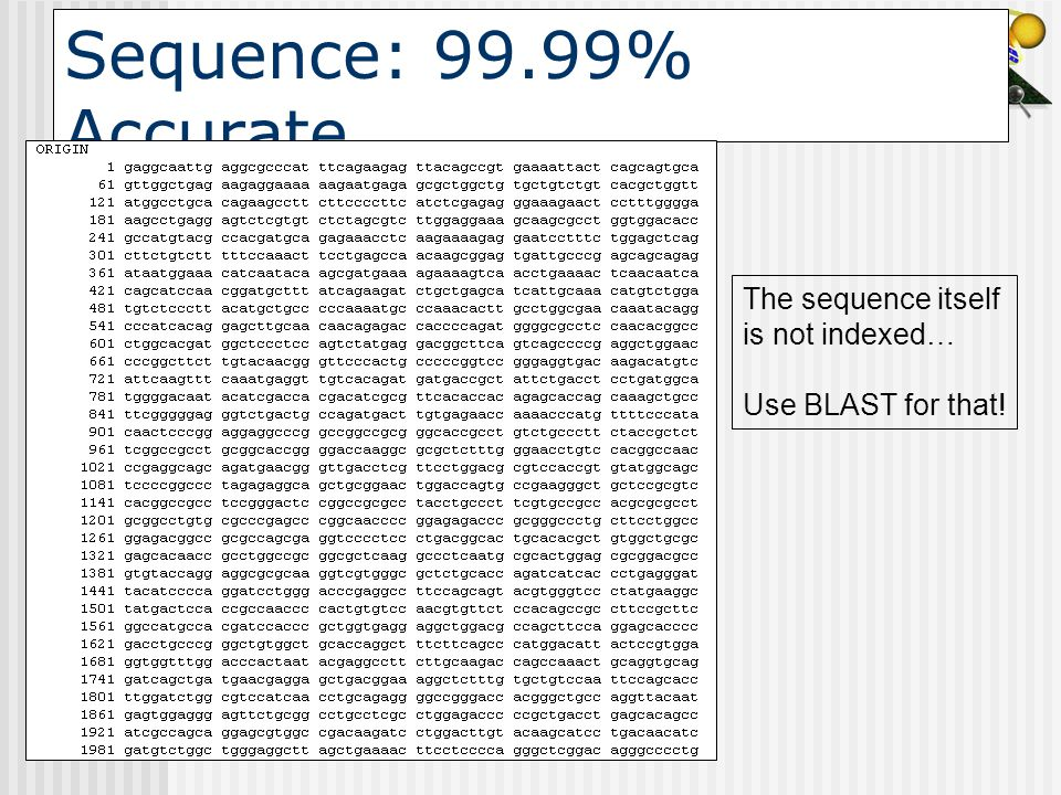Sequence: 99.99% Accurate The sequence itself is not indexed… Use BLAST for that!