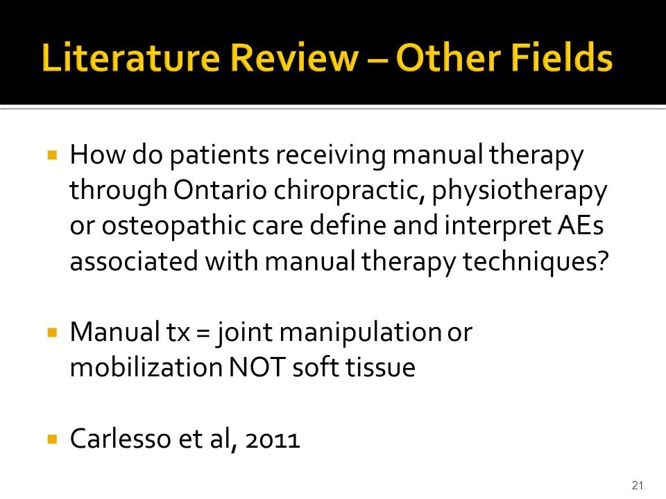  How do patients receiving manual therapy through Ontario chiropractic, physiotherapy or osteopathic care define and interpret AEs associated with ma