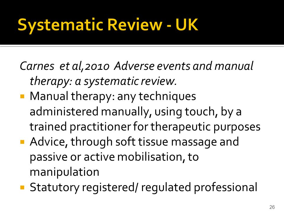Carnes et al,2010 Adverse events and manual therapy: a systematic review.